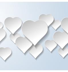 Abstract flying hearts on light blue background vector
