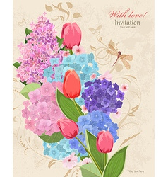 Retro invitation card with flowers bouquet with vector