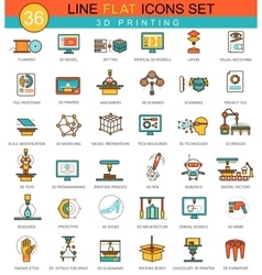 3D printing modeling flat line icon set vector image vector image