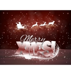 Reindeer and santa claus on red background vector