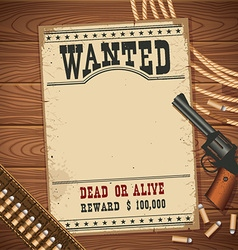 Wanted poster with western objects on wood texture vector