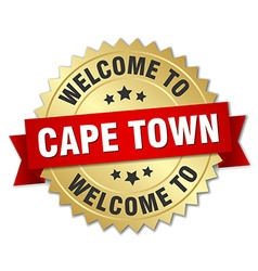 Cape town 3d gold badge with red ribbon vector
