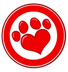 Love paw print banner vector