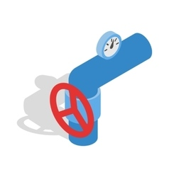 Pipe with a red valve and meter icon vector