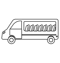 White van with chairs vehicle transport vector