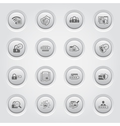Button design security and protection icons set vector
