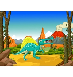 Funny dinosaur cartoon with forest background vector