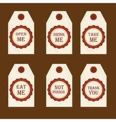 Alice in Wonderland set with labels Eat me vector image