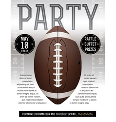 American Football Party Flyer Silver vector image