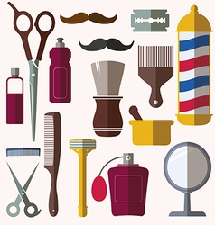 Barber and hairdresser related icons set vector image vector image