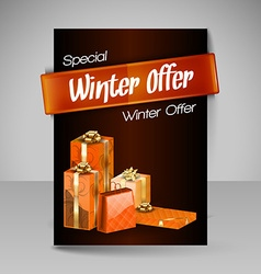 Brochure design template with orange christmas vector