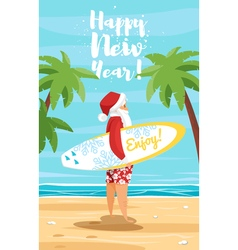 cartoon style of Santa surfer vector image vector image