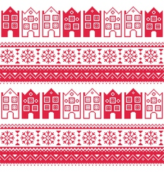 Christmas knitted seamless pattern with town house vector