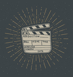 Clapperboard vintage label hand drawn sketch vector