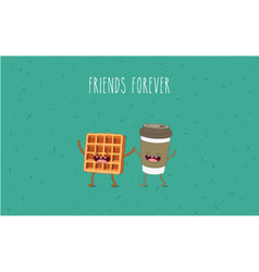Coffee and waffel vector image vector image