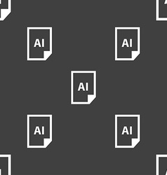 File ai icon sign seamless pattern on a gray vector