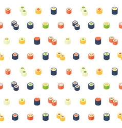 Flat isometric sushi seamless pattern vector image