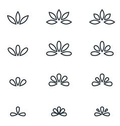 Floral monogram design elegant line art logo vector