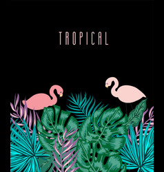 Green summer tropical background with exotic palm vector