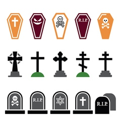 Halloween graveyard colorful icons set - coffin vector
