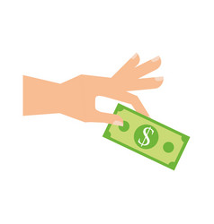 hand with banknote money business finance vector image
