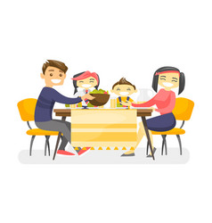 happy multiethnic family dining at the table vector image