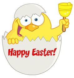Happy yellow easter chick in a shell ringing a bel vector