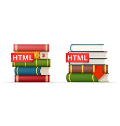 Html books stacks icons vector