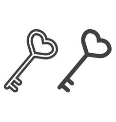 Key with heart shape line and glyph icon vector