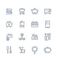 Kitchen line icons set isolated over white vector