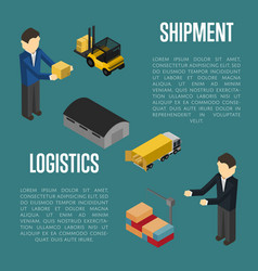 Logistics shipment isometric banner with people vector