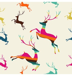 Merry christmas reindeer stripes seamless pattern vector