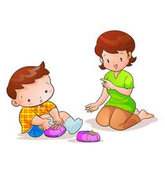 Mom teaches son wear shoes vector