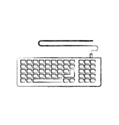 Monochrome blurred silhouette of computer keyboard vector