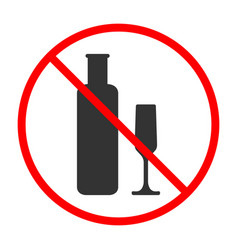 No alcohol sign and symbol prohibited icon vector