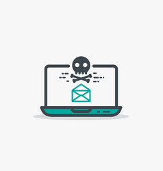 opened email and malware laptop vector image