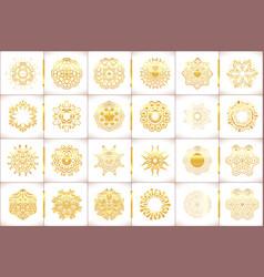 Ornamental gold symbols set vector