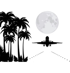 palms moon and plane over runway vector image vector image