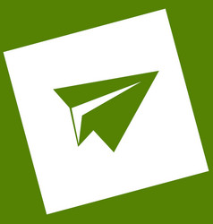 Paper airplane sign white icon obtained vector
