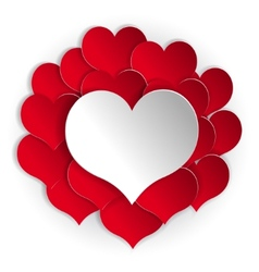 Paper red hearts background with white heart vector image