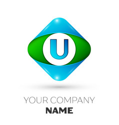 Realistic letter u logo in colorful rhombus vector