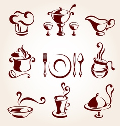 Restaurant elements set vector