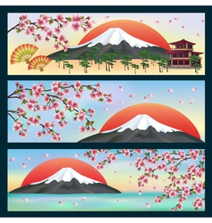 Set of horizontal banners japanese style vector image vector image