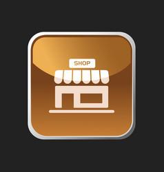 Shop icon on an orange square button vector
