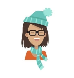 Smiling girl in a glasses blue hat and scarf vector