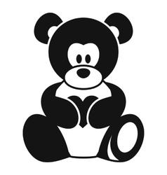 Teddy bear holding a heart icon simple style vector