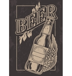 vintage template for cold beer advertising vector image