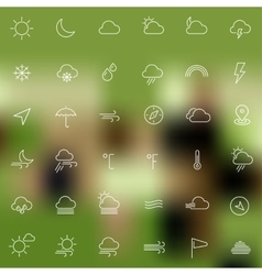 Weather line thin icons vector image vector image