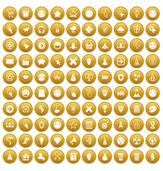 100 interface pictogram icons set gold vector
