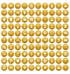 100 shield icons set gold vector
